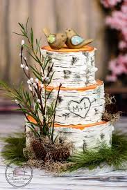 Here Is A Rustic Wedding Cake Made To Look Like Birch Tree Rounds
