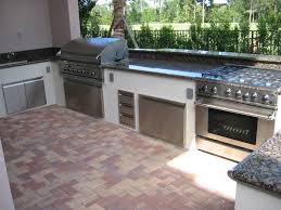 L Shaped Outdoor Kitchen Design Built In Stainless Steel Grill Gas Oven Cooktops Ranges Marble Countertop