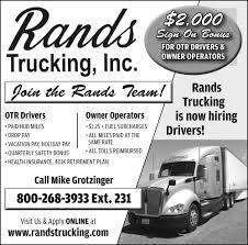 100 Otr Trucking Companies Hiring OTR Drivers Owner Operators Rands Inc Medford WI