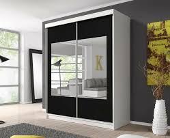 maxi 03 schwebetürenschrank mit spiegel kleiderschrank weiß schwarz matt 183 cm