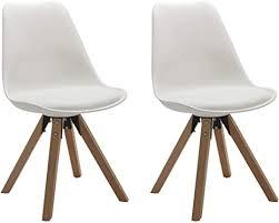 duhome 2er set stuhl esszimmerstühle küchenstühle farbauswahl mit holzbeinen sitzkissen esszimmerstuhl retro 518m farbe weiss material kunstleder