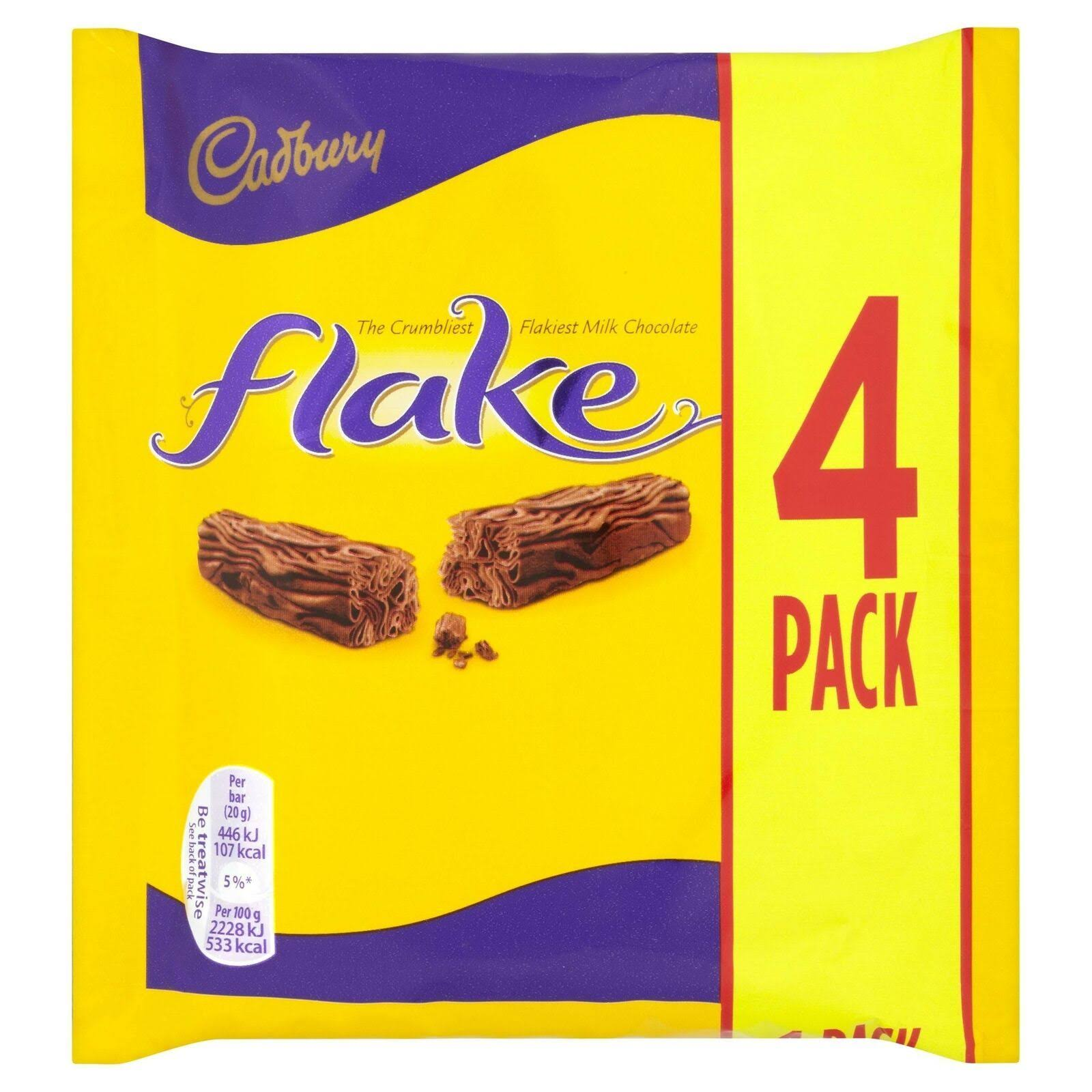 Cadbury Flake Chocolate Bar - 4 Pack, 80g
