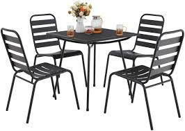 MF STUDIO 5 Piece Black Metal Outdoor Backyard Bistro Tea Set Steel Mesh  Frame Slat Seat Patio Furniture Set, 4 Dining Arm Chairs With Angle Back  And ... Stunning White Metal Garden Table And Chairs Fniture Daisy Coffee Set Of 3 Isotop Outdoor Top Cement Comfort Design The 275 Round Alinum Set4 Black Rattan Foldable Leisure Chair Waterproof Cover Rectangular Shelter Cast Iron Table Chair 3d Model 26 Fbx 3ds Max Old Vintage Bistro Table2 Chairs W Armrests Outdoor Sjlland Dark Grey Frsnduvholmen China Patio Ding Dinner With Folding Camping Alinium Alloy Pnic Best Ideas Bathroom
