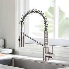 küchenarmatur mit spiralfeder wasserhahn brause ausziehbar 360 schwenkbar gebürstetes nickel einhebel mischbatterie pull spray