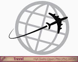 Travel Clipart Plane Clip Art Travelling Graphics Around World Holiday Vacation Scrapbooking Digital Instant Download Png Jpg 300dpi From