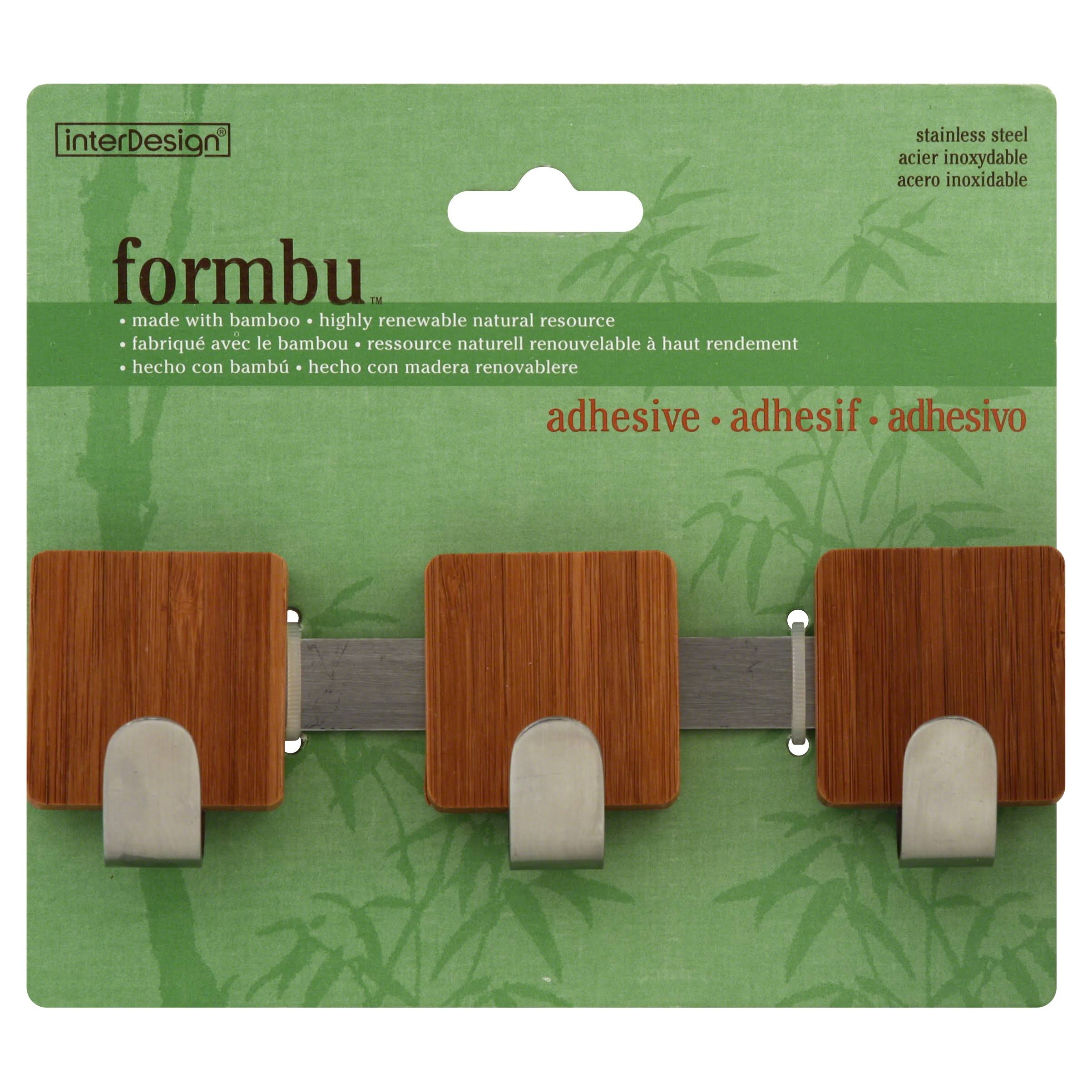 InterDesign Formbu Self Adhesive Multi Hook - Bamboo/Brushed Stainless Steel