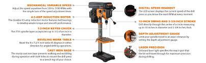 wen 4212 10 inch variable speed drill press amazon com