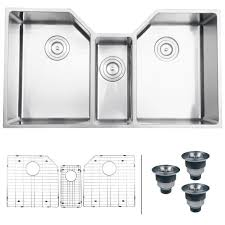 Overstock Stainless Steel Kitchen Sinks by Ruvati 16 Gauge Stainless Steel 34 Inch Triple Bowl Undermount