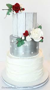 Elegant Rustic Silver Wedding Cake