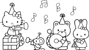 Hello Kitty Coloring Pages Birthday 3