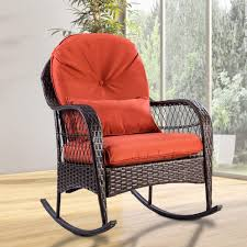 Tangkula Wicker Rocking Chair Outdoor Porch Garden Lawn Deck Wicker Rocker  Patio Furniture W/Cushion (Colourful Cushion) Antique Childrens Wicker Rocking Chair Wicker Rocker Outdoor Budapesightseeingorg Rocking Chair Dark Brown At Home Paula Deen Dogwood With Lumbar Pillow Victorian Larkin Company Lloyd Flanders Chairs Pair Easy Care Resin 3 Piece Patio Set Rattan Coffee Table 2 In Seat Cushion And Alinum Glider Lawn Garden Porch Livingroom Fniture Franco Albini Style Midcentury Modern Accent Occasional Dering Hall
