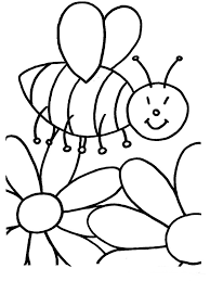 Spring Flowering Bee Free Printable Coloring Pages