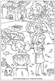 Picking Apples Colouring Page Children In An Apple Orchard With Farm The