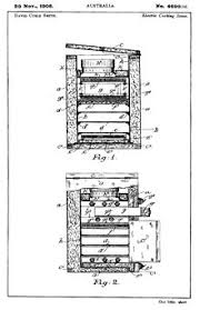 Drawings Submitted On 29 November 1905 When David Curle Smith Obtained An Australian Patent No 4699 05 For His Electric Cooking Stove Also Known As