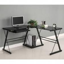 black glass l shaped desk foter