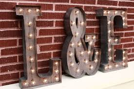 3 custom light up letters 2 initials w ersand sign for