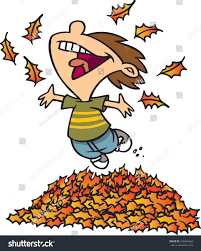 cartoon boy jumping in a pile of leaves