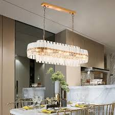 großhandel gold bronze moderne chandeleir beleuchtung oval design kette kristallleuchter esszimmer luxus led lüster de cristal ups delin 642 42