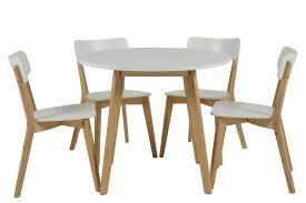table et 4 chaises table ronde 4 chaises smogue bois blanc style scandinave mykaz