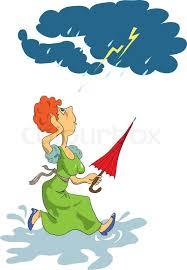 A Woman Runs Through The Puddles With An Umbrella In Hand Storm Cartoon