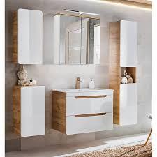 badezimmer spiegelschrank 80cm led beleuchtung luton 56 hochglanz weiß mit wotaneiche b h t ca 80 70 20 cm