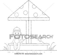 Clip Art Of Boy Playing In The Sandbox Outline K49576178