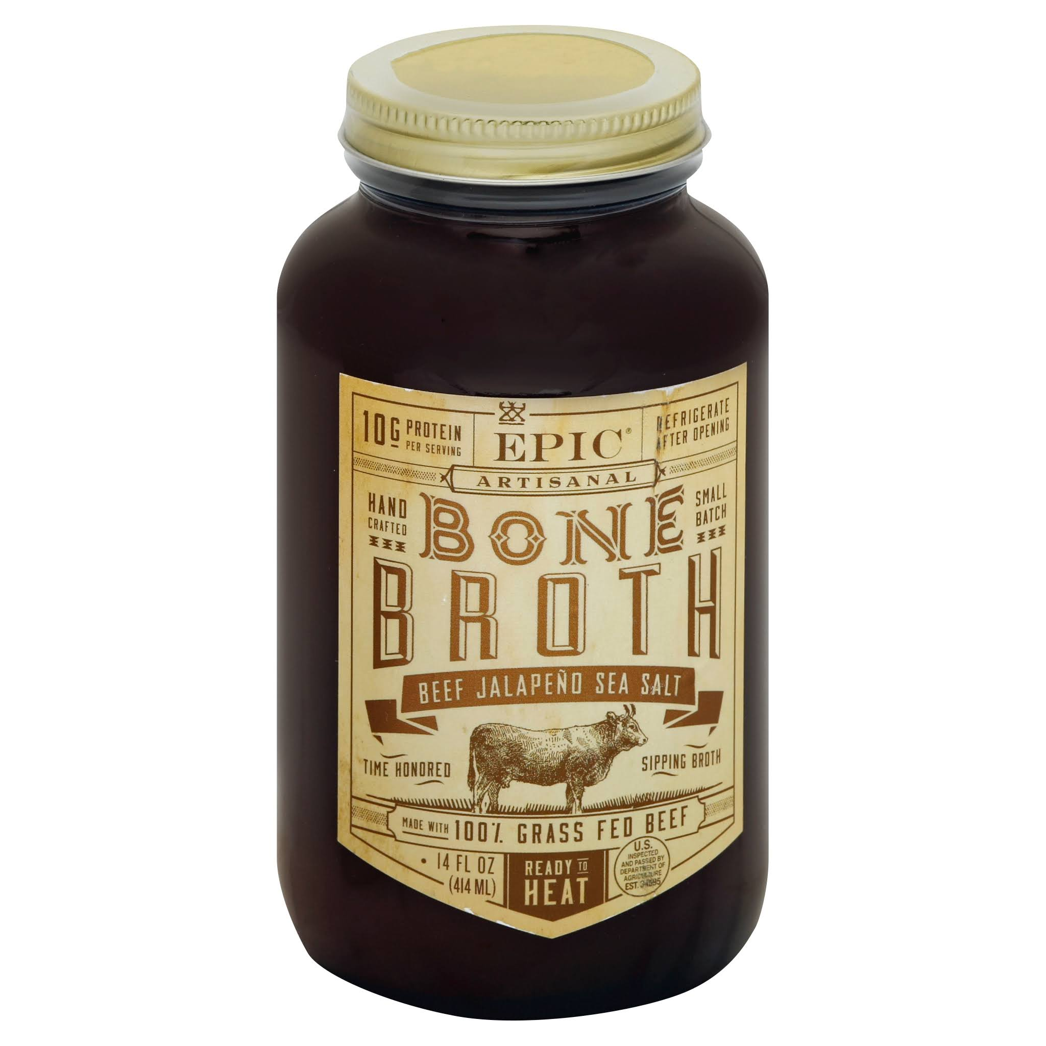 Epic Artisanal Bone Broth - Beef Jalapeno Sea Salt, 14oz