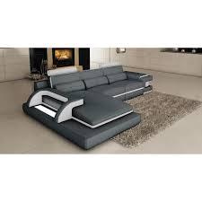 canapes angle cuir canapé d angle cuir gris et blanc design avec lumière ibiza angle
