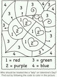 Valentines Day Math Activities Lady Bug Hearts Color By Number Great For One Of Those My Brain Is Fried Days