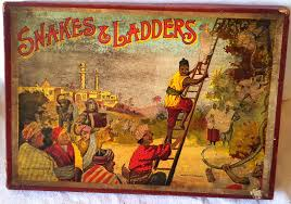 Early Edwardian Snakes And Ladders Board Game Complete