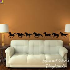 Running Horses Large Animal Wall Sticker Baby Nursery Kids Room Set Of 7 Horse