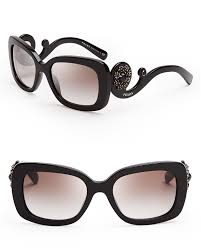 prada absolute baroque crystal square sunglasses in black lyst