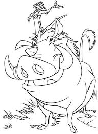 Download Print Timon And Pumbaa The Lion King Coloring Page