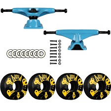 Amazon.com : Tensor Blue Slider Trucks Bones SKATEBOARD 100's Wheels ...