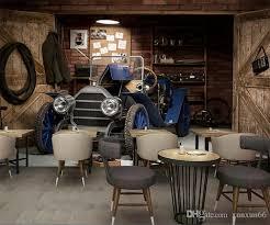 großhandel benutzerdefinierte wandbild vintage serie tapete thema cafe bar restaurant ktv wohnzimmer dekoration holz altes auto garage tapete wandbild