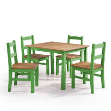 Manhattan Comfort York 5 Piece Green Wash Solid Wood Dining Set With 1 Table