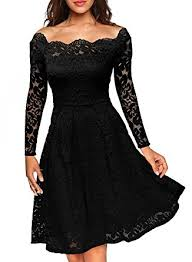 MissMay Womens Vintage Floral Lace Long Sleeve Boat Neck Cocktail Formal Swing Dress Black X