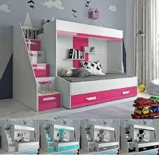 hochbett etagenbett doppelstockbett mit treppe paris6 hochglanz weiß türkis rosa grau