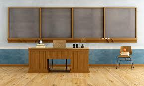 le bureau vintage salle de classe de vintage avec le bureau du professeur illustration