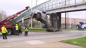 100 Tow Truck Columbus Ohio Dump Truck Bed Gets Stuck Under Cleveland Pedestrian Bridge