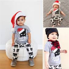 Toddler Kids Baby Boy Girls Summer Clothes Sets Christmas Batman Outfits Tops Long Pants 2pcs