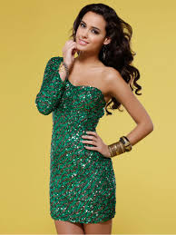 short one shoulder sequin dress with one sleeve with natural