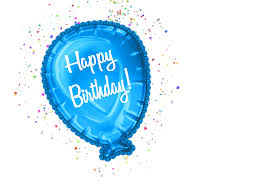 Blue Happy Birthday Balloon With Confetti