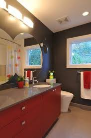 Gray And Red Bathrooms