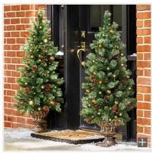Pre Lit Christmas Tree Entryway Porch Outside Indoor Lighted 4 Feet Decoration
