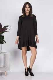 black loose knee length dress with frill