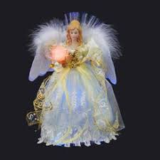 KSa 12 Elegant Cream And Bright White LED Light Fiber Optic Angel Christmas Tree Topper