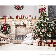 2018 Indoor Xmas Party Backdrops For Photography Decorated Christmas Tree Garland Toy Bear Home Decoration Family Photo Booth Background 7x5ft From