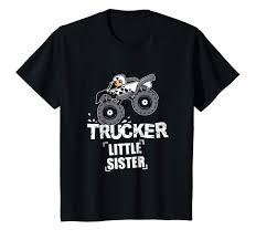 Amazon.com: Kids Trucker Little Sister T-Shirt - Monster Truck Girls ...