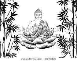 Bamboo And Buddha Sitting On Lotus Seamless Pattern White Background Tropical Wallpaper